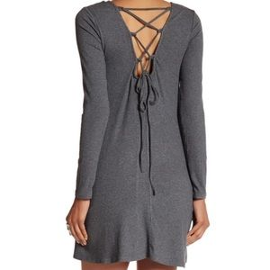 Very J Ribbed Long Sleeve Tie Back Dress- Gray, M